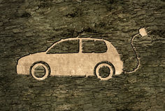 Electric car on the bark Royalty Free Stock Photo