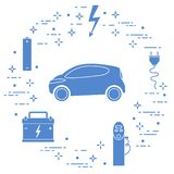Electric car, battery, charging station, electrical safety sign, cable, electrical plug. New transport eco technologies. Vector. Electric car, battery, charging vector illustration