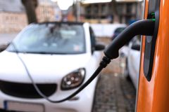Electric car changing station royalty free stock photography