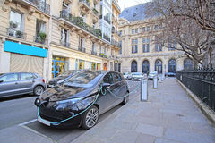 Electric car charges in Paris Royalty Free Stock Photography