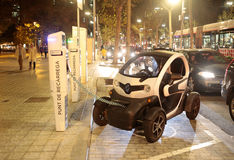 Electric car charging in Barcelona Stock Photos