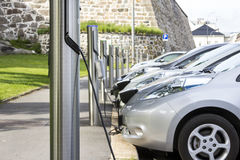 Electric car charging battery. At the station Stock Image