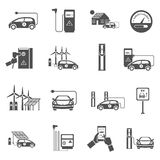 Electric Car Charging Black Icons Set. Electric car charging public network service stations with electricity generated from solar black icons collection Royalty Free Stock Photo
