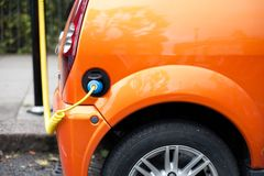 Electric Car Charging Cable and socket Stock Image