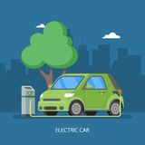 Electric car charging at the charger station. Vector illustration in flat style. Stock Photography