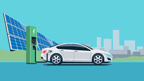 Electric Car Charging at the Charging Station. Flat vector illustration of a white electric car charging at the charger station in front of the solar panel plant Royalty Free Stock Photo