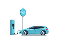 Electric Car Charging at the Charging Station on White Background Royalty Free Stock Photo