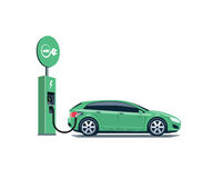 Electric Car Charging at the Charging Station on White Background Royalty Free Stock Photos