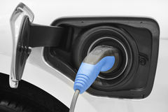 Electric car charging detail. Green and renewable energy technol Royalty Free Stock Image