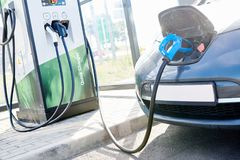 Electric car charging. Ecological automobile royalty free stock photos