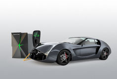Electric car charging in EV charging station. Royalty Free Stock Photos