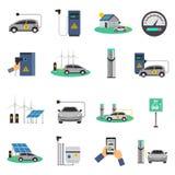 Electric Car Charging Flat Icons Set Stock Photo