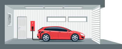 Electric Car Charging at Home in Garage. Flat vector illustration of a red electric car charging at the charger station point inside home garage. Integrated royalty free illustration