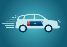 Electric Car Charging. Isolated car silhouette with a battery royalty free illustration