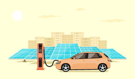 Electric car charging. Modern electric car charging at the charger station in front of the solar panels, big city skyline in the background, flat style Royalty Free Stock Photo