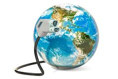 Electric car charging plug with Earth Globe, 3D rendering. Isolated on white background Stock Photography