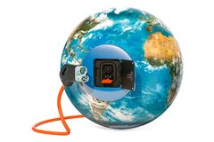Electric car charging plug and station socket outlet in the Eart. H Globe, 3D Royalty Free Stock Photography