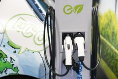 Electric car charging point is ECO.  Royalty Free Stock Images