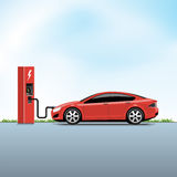 Electric Car Charging at the Power Station Royalty Free Stock Images