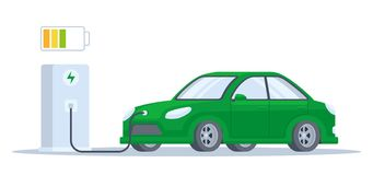 Electric car charging process vector illustration