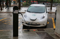 Electric car charging in a public point in Majorca Royalty Free Stock Photo