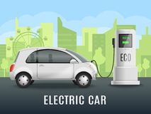 Electromobile Charging Realistic Background. Electric car charging realistic composition with electrically powered automobile near eco friendly charging point Royalty Free Stock Images