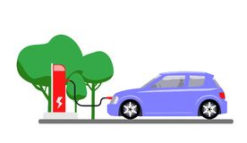 Electric car charging at refuelling power station. Modern vehicle technology. Vector illustration royalty free stock image