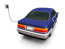 Electric car charging it's batteries. An electric car plugged in with a cord to a socket, charging it's batteries Stock Image