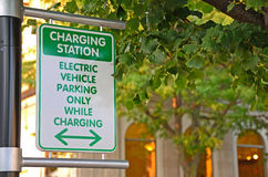 Electric car charging sign Royalty Free Stock Photos