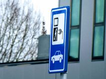 Electric car charging sign. Netherlands. stock images