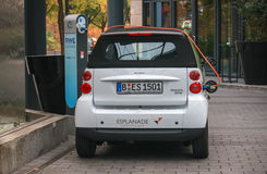 Electric car at a charging station Royalty Free Stock Photos