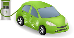 Electric car and charging station Stock Photography