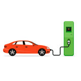 Electric car charging station concept. EV recharging point or EV Royalty Free Stock Image