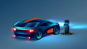 Electric car charging station. Electric car charges the battery. Future concept.