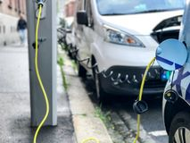 Electric car charging station in Oslo Royalty Free Stock Images