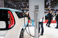 Electric car charging station stock photo