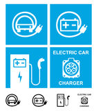Electric car charging symbols Stock Images