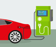 Electric car charging. Vector illustration of charging red electric car royalty free illustration