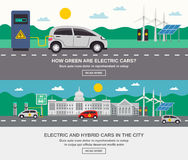 Electric Car City 2 Flat Banners Stock Photography
