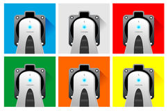 Electric car color charger sockets Stock Photo