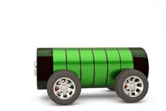 Free Electric Car Concept Battery On Wheels With Charge Level On A W Royalty Free Stock Photos - 123948108
