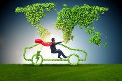 The electric car concept in green environment concept Stock Photos