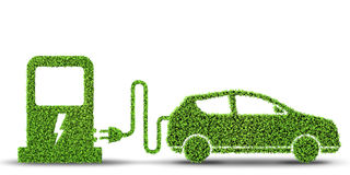 The electric car concept in green environment concept - 3d rendering Royalty Free Stock Image