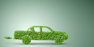 The electric car concept in green environment concept - 3d rendering Royalty Free Stock Photos