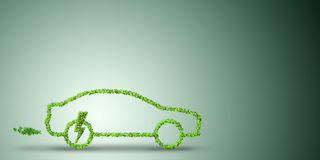 The electric car concept in green environment concept - 3d rendering Stock Photography