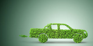 The electric car concept in green environment concept - 3d rendering Stock Images