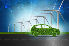 The electric car concept with windmills - 3d rendering Stock Photos