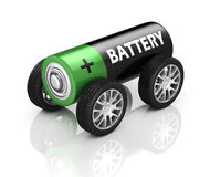 Electric car 3d concept - battery on wheels Royalty Free Stock Photos