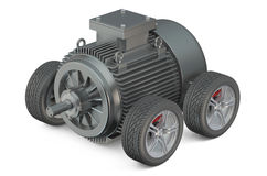 Electric car 3d concept - motor on wheels Stock Images
