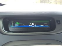 Electric car dashboard display. Battery indicator and display of electric car Royalty Free Stock Photography